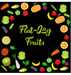 Flat-lay healthy fruits on black background vector