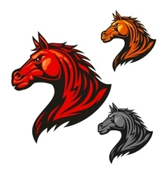 Furious horse icons Stylized stallion emblems vector