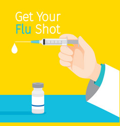 Get your flu shot texts injecting flu vaccine vector