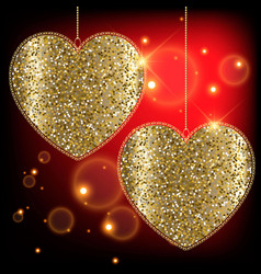 gold glittery two love hearts with lace frames vector image