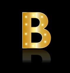 golden letter b shiny symbol vector image