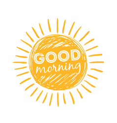 good morning sun sunshine symbol with happy vector image