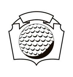 Gray scale emblem with golf ball vector