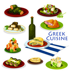 Greek cuisine healthy food cartoon icon design vector