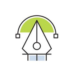Green pen tool icon vector