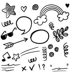 hand drawn set doodle elements for concept design vector image