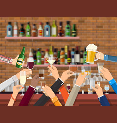 hands group holding glasses with various drinks vector image
