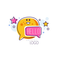 hello logo colorful emblem with hello word and vector image
