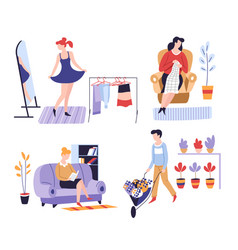 hobbies and leisure activity or pastime shopping vector image