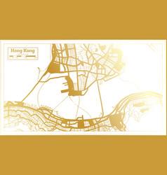 hong kong china city map in retro style in golden vector image