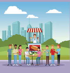 hot dog stand at city vector image