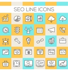 Inline SEO Icons Collection vector