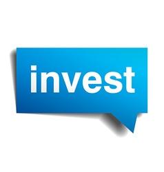 Invest blue 3d realistic paper speech bubble vector image