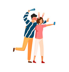 joyful couple in funny glasses and ears taking vector image