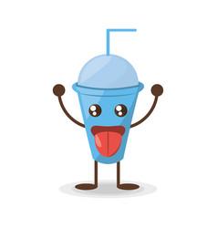 kawaii plastic cup soda straw vector image