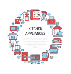 Kitchen small appliances equipment banner vector