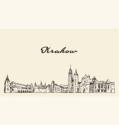 krakow skyline poland hand drawn sketch vector image