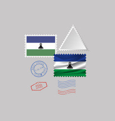 Lesotho flag postage stamp set isolated on gray vector