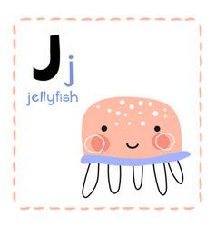 Letter j funny alphabet for young children vector