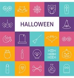Line Art Modern Halloween Holiday Icons Set vector