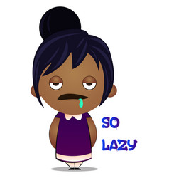 Little girl is feeling lazy on white background vector