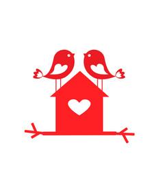 love cute birds and birdhouse - card vector image