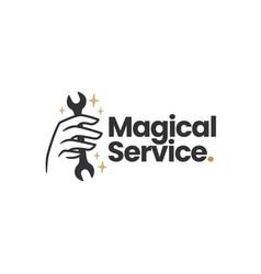 magic service wrench hand mystic logo icon vector image