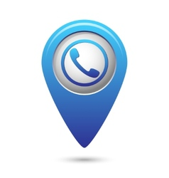 Map pointer with phone handset icon vector image