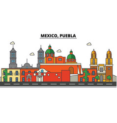 Mexico puebla city skyline architecture vector