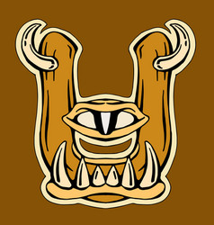 monster stylized letter u vector image