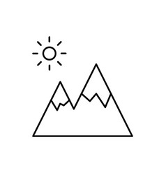 mountain linear icon on white background vector image