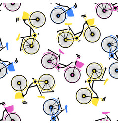 multicolored bicycles with basket seamless vector image