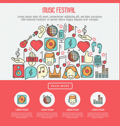 Music festival concept with thin line icons vector