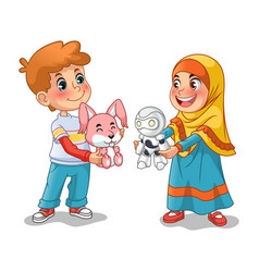 Muslim girl and boy exchanging gifts vector