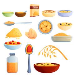 Oatmeal icons set cartoon style vector