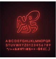 octopus neon light icon swimming underwater vector image