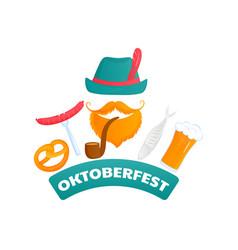 oktoberfest poster bearded man in a green hat vector image