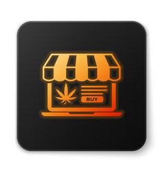 orange glowing neon laptop and medical marijuana vector image