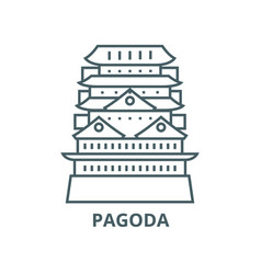 pagodaasian temple line icon linear vector image