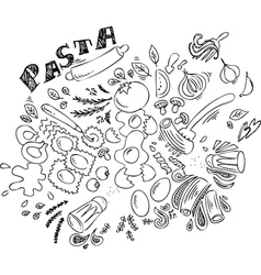 Pasta and ingredients for cooking italian food vector