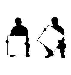 people holding panels in a crouch position vector image