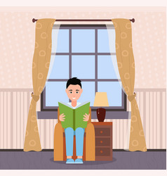 person reading book at home sitting in armchair vector image