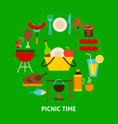 Picnic time postcard vector