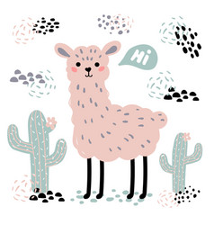 Pink cartoon lama alpaca cactuses and hi text vector