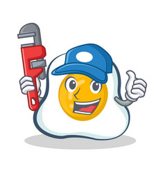 Plumber fried egg character cartoon vector