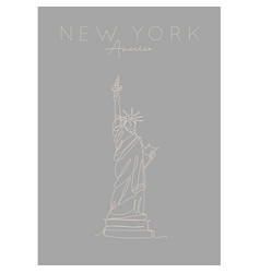 poster new york statue liberty grey vector image