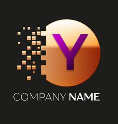 Purple letter y logo symbol in golden pixel circle vector