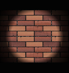 Red brick wall texture background with round light vector