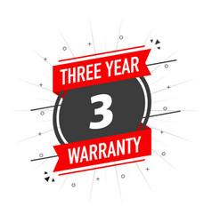 Red warranty stamp three year warranty flat vector