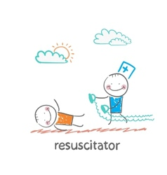 resuscitation in a hurry to sick patient vector image